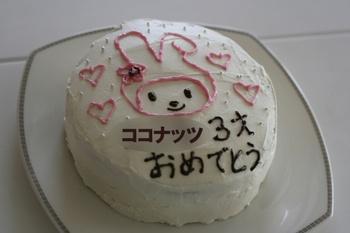 ココナッツ3才の誕生日ケーキ